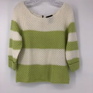 It's Our Time Lime Green & White Sweater